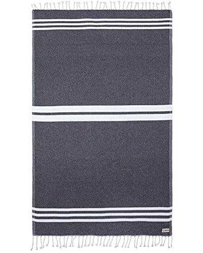 Turkish Towel - Peshtemal Cotton - Great for Beach or Home or as a Blanket - The Us (37x69) (Black)