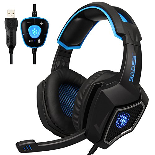 USB Computer Headset with Microphone Spirit Wolf Over Ear 7.1 Surround Sound PC Gaming Headset with Black and Blue Noise Reduction/Breathing Lights