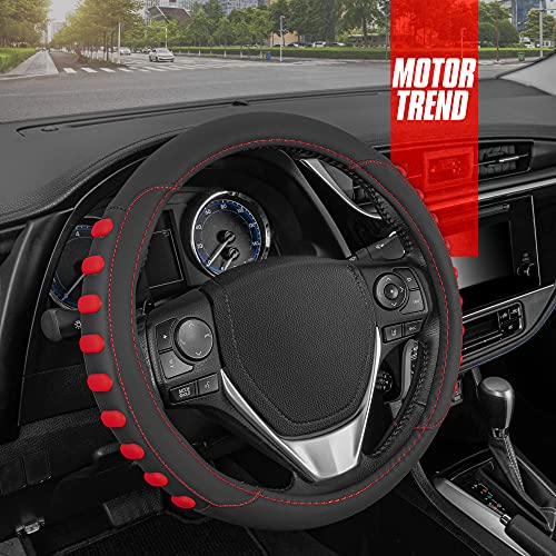 Motor Trend FlexGrip Red Steering Wheel Cover for Women Men – Universal Fit 15 inch Steering Wheel Cover (14.5-15.5), Red and Black Steering Wheel Protector for Auto Truck Van SUV