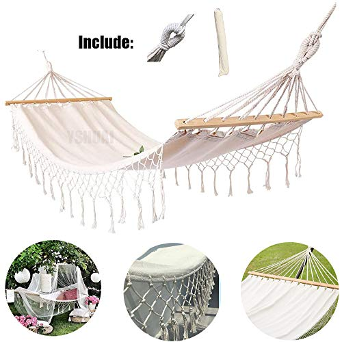 YSHUAI Traditional Cotton Rope Hammock, Folding Curved Spreader Portable Carrying Bag Included, for Camping Outdoor Patio Yard, Water Resistance and UV Resistance