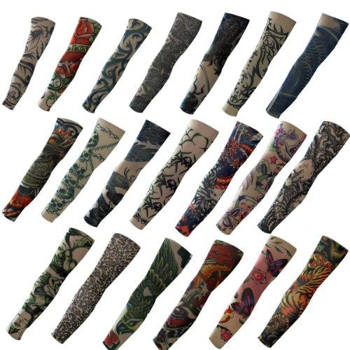 Butterme 20PCS SET FAKE temporäre Tattoo Ärmeln NEUHEIT Body Art Arm Strümpfe rutschhemmend Zubehör Drache, Totenkopf, Tribal Muster etc..