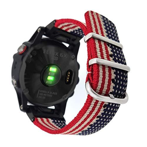 New YOOSIDE 26mm Watch Band for Garmin Fenix 6X Pro/Sapphire,Woven Nylon US Flag Pattern Wristband S...