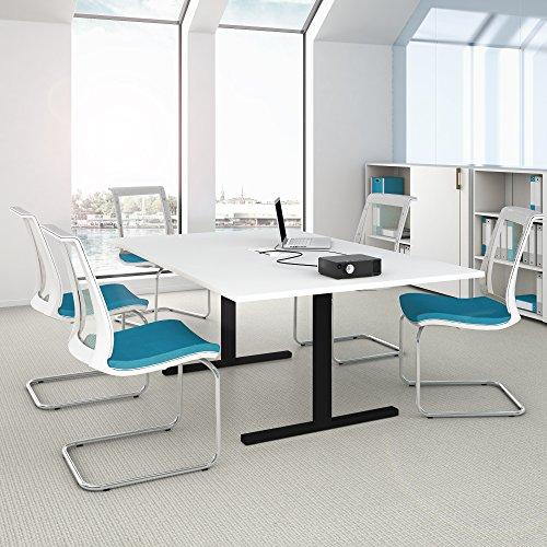 Easy Konferenztisch 200x120 cm Weiß/Schwarz mit ELEKTRIFIZIERUNG Besprechungstisch Tisch