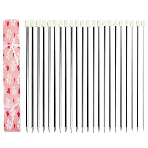 Hysagtek - Set di 22 ferri da maglia a punta singola, in acciaio INOX, con custodia, dimensioni assortite da 2,0 a 8,0 mm (11 paia, 11 misure)