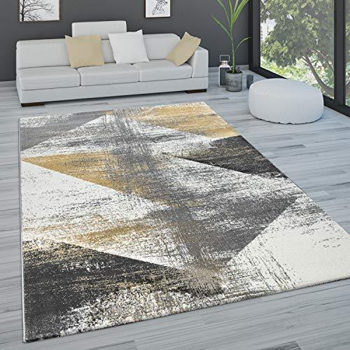 Paco Home Alfombra salón Pelo Corto Vintage Pastel Motivos Abstractos Distintos Estilos, tamaño:160x230 cm, Color:Amarillo