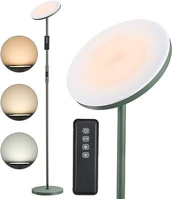 Anten Lampadaire LED Matcha vert - 30 W - Intensité variable avec télécommande - 3 températures de couleur - Bouton tactile - Fonction mémoire - Lampadaire moderne pour salon, chambre à coucher, bureau