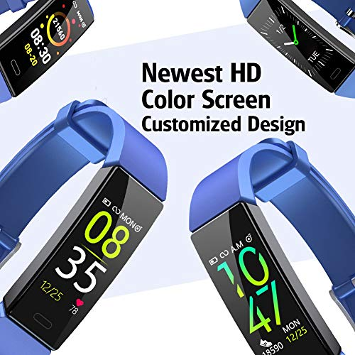 ZURURU Fitness Tracker with Blood Pressure Heart Rate Monitor, IP68 Waterproof Activity Tracker Fit Smart Watch with 10 Sport Modes Pedometer Calorie Step Counter for Women Men (Royal Blue) 5