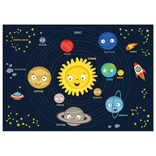 kizibi Weltraum Kinder Poster, Weltall Universum für Mädchen und Jungen im Kinderzimmer, Kosmos DIN A2, Planet Erde im Sonnensystem, Lernposter Astronomie Kindergarten, Vorschule, Grundschule
