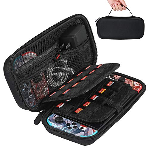 EPULY Carrying Case for Nintendo Switch, Protective Hard Shell for Nintendo Switch Carrying Case with 20 Game Card Slots for Nintendo Switch and Accessories - Black
