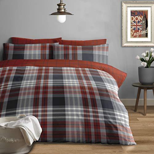 Jansons Direct Linens Juego de funda de edredón 100% algodón cepillado, diseño de cuadros, tamaño doble, reversible, color gris y rojo