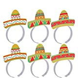 LUOEM Sombrero Headbands 6PCS Cinco De Mayo Fiesta Party Colorful Sombrero Headbands Accessories