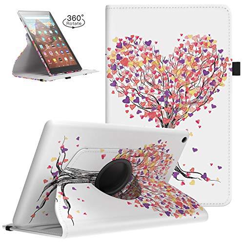 TiMOVO Custodia Protettiva Nuovo Amazon Kindle Fire HD 10 Tablet (7th Gen 2017 e 9th Gen 2019) con Tasca Portapenne, Supporto 3 Sezioni, Custodia per Tablet Amazon Fire HD 10.1' - Albero d''Amore