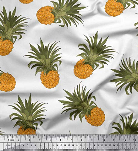 Soimoi White Cotton Cambric Fabric Pineapple Fruits Print Fabric by The Yard 42 Inch Wide