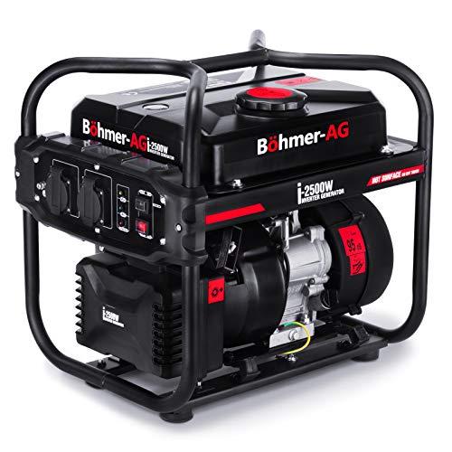 Böhmer-AG i-2500W - Grupo Electrógeno a Gasolina Invertido Silencioso con adaptadores EU - 2,0kW