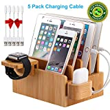 Bamboo Charging Station Organizer for Multiple Devices, Desktop Docking Stations Holder for Cell Phone, Tablet, iWatch, Airpod Charge Stand (Included Watch & Airpod Stand, 5 Cable) (➤No USB Charger)