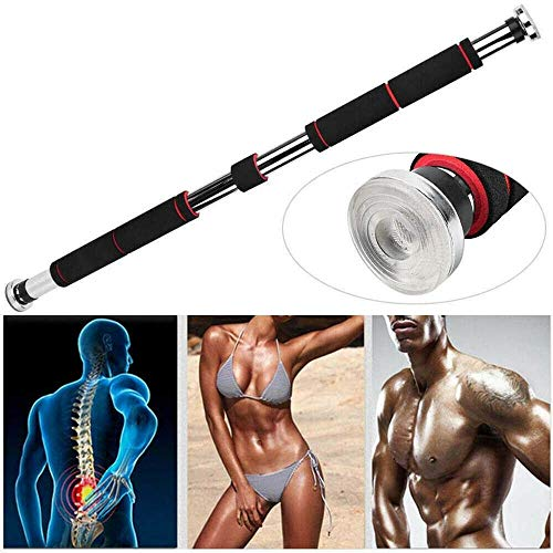 Vivo Technologies Door-Frame Pull-Up Bar Home Exercise Workout Training Gym Bar Chin Up Adjustable Fitness Heavy-Duty Metal and Foam Chin-Up Pole 60-100cm Black-Red