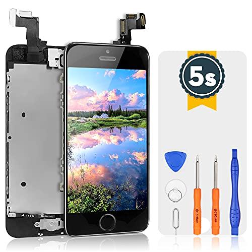 bokman Vormontiertes Display Reparaturset kompatibel mit Schwarz iPhone 5s/SE, Inklusive FaceTime-Kamera, Mikrofon, Lautsprecher und Näherungssensor, Passendes Profi-Werkzeugset enthalten