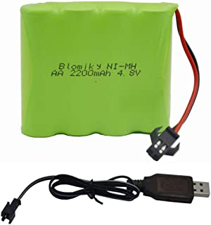 Blomiky 4.8V 2200mAH AA NiMH Rechargeable Battery with SM-2P Plug and USB Charger Cable for RC Vehicle Car Truck Crawler 4.8V 2200mAh NiMH Battery