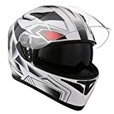 1STorm Motorcycle Street Bike Dual Visor/Sun Visor Full Face Helmet Panther White, Size Large (57-58 cm,22.4/22.8 Inch)