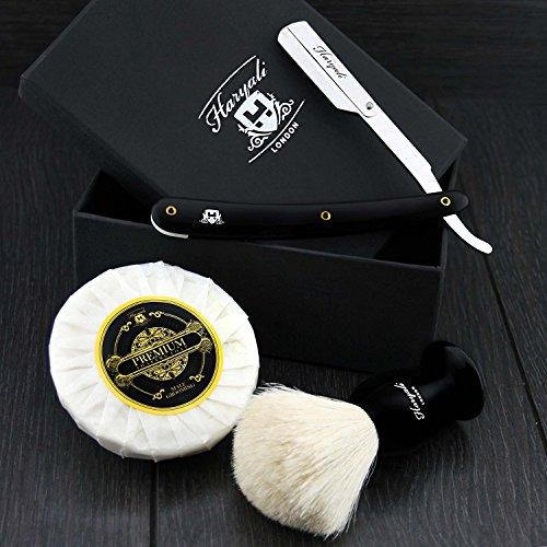 Main zusammengestellte Sophist Collection de Blaireau droite avec coupe de cheveux de blaireau Blanc entworfene élégant kehlrasi flexball, Savon de rasage traditionnel droite rasie rrasier Couteau