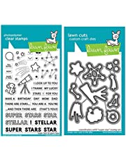 """Lawn Fawn Super Star 4""""x6"""" Clear Stamp Set and Coordinating Custom Craft Die Set (LF2241, LF2242), Bundle of 2 Items"""