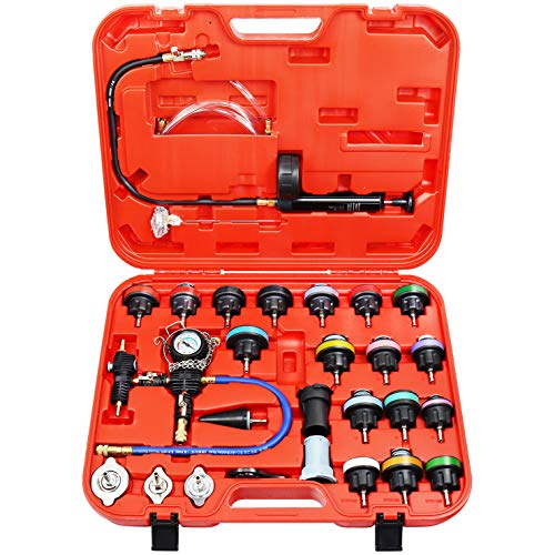 N / A YSTOOL Radiator Pressure Tester Pneumatic Vacuum Cooling System Purge Refill Kit 28PCS Universal Automotive Water Tank Leak Test and Coolant Fill Tool Set with Adapters Gauge Case