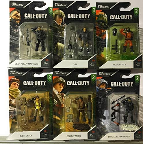 M.B. Mega Construx Call of Duty- Series 2- Set of 6 Specialist Figures ,Yuri, Medic, Ace, Outrider, Hazmat, Mactavish