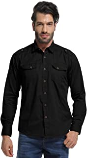 Men's Long Sleeve Military Tactical Shirt, Cargo Work Tops