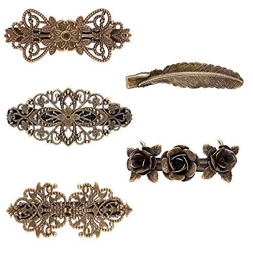 5 Stück Französisch Vintage Haarspangen, Vintage Bronze Rosen Haarspangen, Metall Haarnadeln, Rose, Blütenwelle, Krone, für Frauen oder Mädchen Geschenk