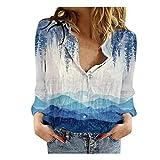 WELCO - Camisa de manga larga para mujer, estilo casual, con botones multicolor 2 L