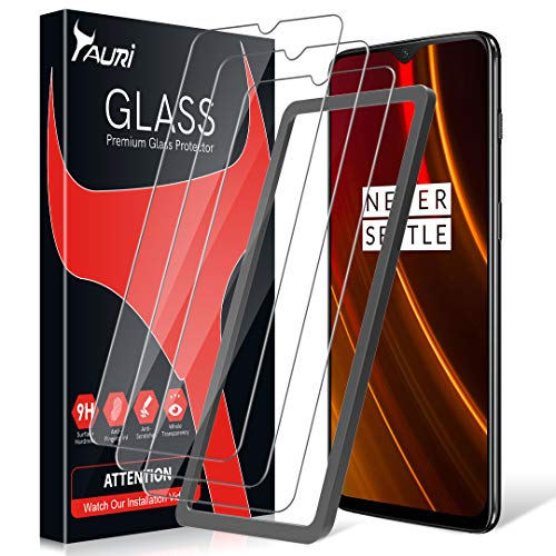 TAURI OnePlus 6T Screen Protector [3 Pieces] [Installation Kit] [2.5D] [9H Hardness] [Bubble Free] Tempered Glass Screen Protector