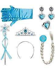 Lictin Prinsessenkostuum accessoires meisjes verkleedset kroon haarbanden vlecht ring oorbellen toverstaf handschoenen (lichtblauw)