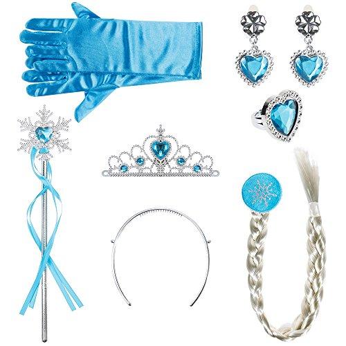 Lictin Corona Principessa Bambina Bacchetta Magica - 6 Pezzi Accessori Principessa, Diadema, Guanti, Bacchetta Magica,la Treccia,Anello Dito e Orecchinoper Bambina 2-9 Anni, Azzurro