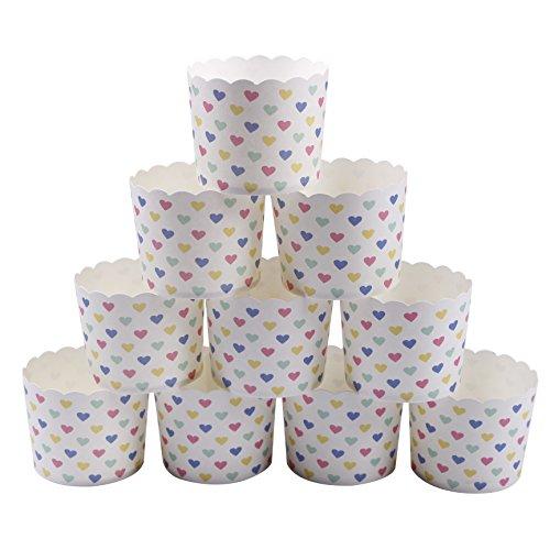 webake 50 Stück Cupcake Formen Muffin Förmchen Papier Papierförmchen in Herzform für Muffin Cupcake