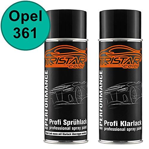 TRISTARcolor Autolack Spraydosen Set für Opel 361 Mintgrün/Mint Green Basislack Klarlack Sprühdose 400ml