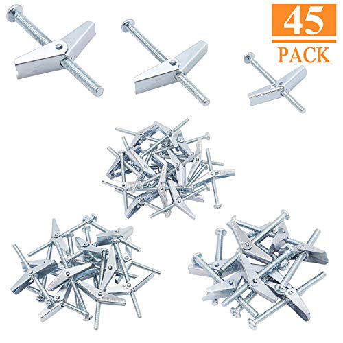 HELIFOUNER 45PCS Toggle Bolt and Wing Nut for Hanging Heavy Items on Drywall - 1/8 Inch, 3/16Inch, 1/4Inch