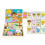 Niños de juguete Puzzle Magnético Set de juguetes educativos de madera Juguete de diseño de juguetes para niños (B) 1Ponga