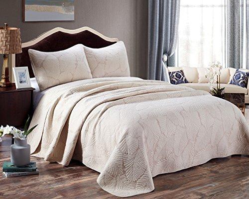 Unimall Tagesdecke Baumwolle Bettüberwurf Set Natur Pflanzen Muster Doppelbett 2x Kissenbezug Shabby Chic 230×250cm, Beige