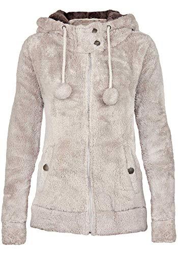 Urban Surface Damen Teddy Fleecejacke mit Öhrchen und Kapuze | Kuscheliger Zip Kapuzenpullover, Größe:XL, Farbe:Light Beige
