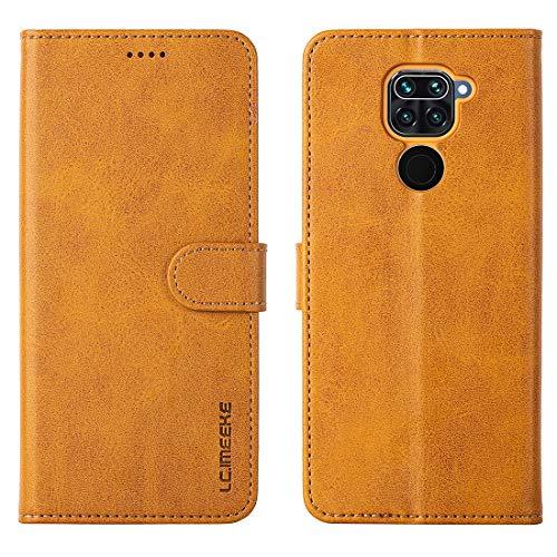 FUNMAX+ Redmi Note 9 Hülle, PU Leder Handyhülle mit 3 Kartenfächer, Schutzhülle Hülle Tasche Magnetverschluss Flip Cover Stoßfest für Xiaomi Redmi Note 9 (Gelb)