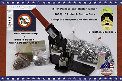 """1"""" Button Maker Machine + 1000 Complete Pinback Button Sets + Cds + Software from American Button Machines"""