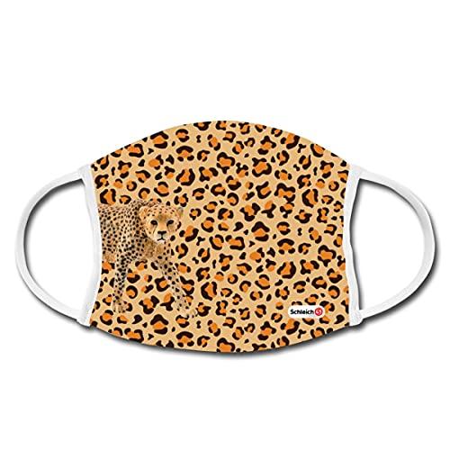 Spreadshirt Schleich Leoparden Muster Mund-Nasen-Bedeckung, Weiß