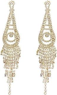 Girl Silver Needle Rhinestone Tassel Earrings Exaggerated Micro-Inlaid Ear Pendant Fashion Temperament Ear Ornaments Jinlyp (Color : Golden)