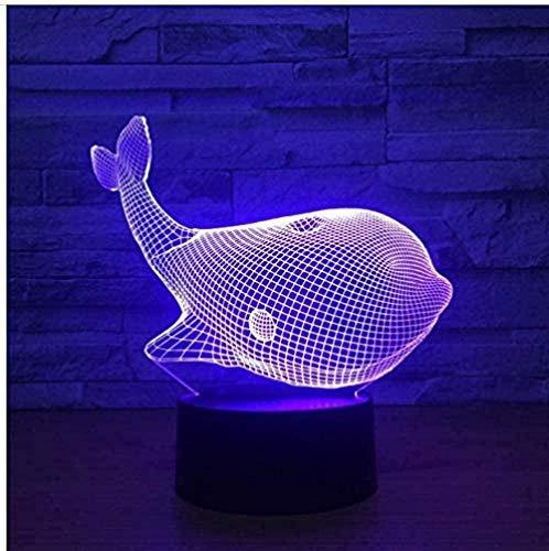 Ballena de dibujos animados luz de noche 3D toque colorido luz LED visual estéreo dormitorio decoración niño niña cumpleaños navidad año nuevo regalo de novedad