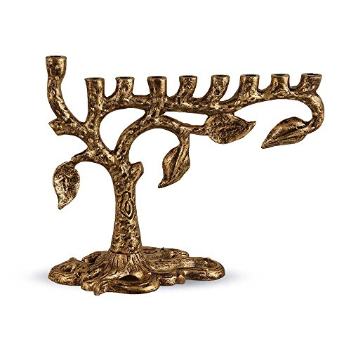 Zion Judaica Artistic Menorah Tree of Life (Antique Gold)