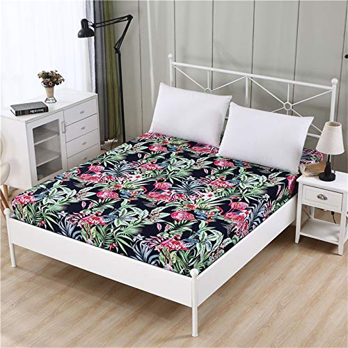 DJNCIA Home 1pc100% poliéster de alta calidad, sábana bajera ajustable elástica para colchón de tamaño personalizable. Calidad de hotel (color: huolieniaohong, tamaño: 80x190x15cm)