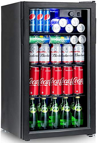 COSTWAY Beverage Refrigerator and Cooler, 120 Can Mini Fridge with Glass Door, Light, Adjustable Thermostat, Removable Shelves for Soda Beer Wine, 3.2cu.ft. Capacity Drink Dispenser Machine for Home Office Bar