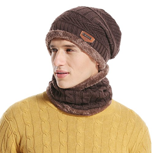 Lovful Men's Winter Warm Knitted Hat and Circle Scarf 2 Pieces Set