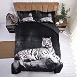 HIG 3D Bedding Set 3 Piece Queen Size White Tiger Animal Print Comforter Set with Two Matching Pillow Covers - Box Stitched Quilted Duvet - General for Men, Women and Children (S14,Queen)