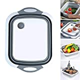 Foldable Cutting Board, Folding Multifunctional Kitchen Plastic Silicone Vegetable Basin, Four-in-one Portable Folding